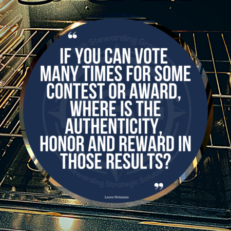 "A quote graphic of an oven in the background. In upper center is a blue circle with and FSG logo watermark and a quote in white text that is credited to Loren Weisman in a small font on the bottom and in the center reads, ""if you can vote many times for some content or award, where is the authenticity, honor and rewards in those results?"""