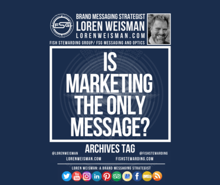 An archives tag graphic with a blue background and a white title inside of a white outlined rectangle that reads Is marketing the only message? Above is the FSG logo as well as some text and an image of Loren Weisman. Beneath the rectangle is some smaller text and a series of social media icons.