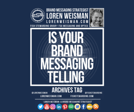 An archives tag graphic with a blue background and a white title inside of a white outlined rectangle that reads is your brand messaging telling. Above is the FSG logo as well as some text and an image of Loren Weisman. Beneath the rectangle is some smaller text and a series of social media icons.