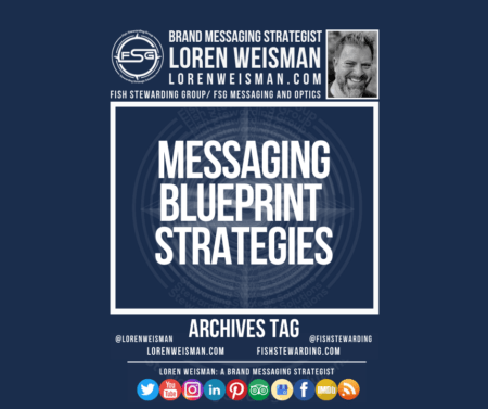 An archives tag graphic with a blue background and a white title inside of a white outlined rectangle that reads messaging blueprint strategies. Above is the FSG logo as well as some text and an image of Loren Weisman. Beneath the rectangle is some smaller text and a series of social media icons.