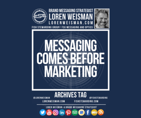 An archives tag graphic with a blue background and a white title inside of a white outlined rectangle that reads Messaging comes before marketing. Above is the FSG logo as well as some text and an image of Loren Weisman. Beneath the rectangle is some smaller text and a series of social media icons.