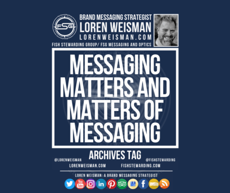 An archives tag graphic with a blue background and a white title inside of a white outlined rectangle that reads messaging matters and matters of messaging. Above is the FSG logo as well as some text and an image of Loren Weisman. Beneath the rectangle is some smaller text and a series of social media icons.