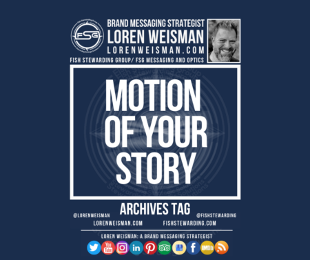 n archives tag graphic with a blue background and a white title inside of a white outlined rectangle that reads Motion of your story. Above is the FSG logo as well as some text and an image of Loren Weisman. Beneath the rectangle is some smaller text and a series of social media icons.