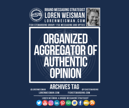 An archives tag graphic with a blue background and a white title inside of a white outlined rectangle that reads organized aggregator of authentic opinion. Above is the FSG logo as well as some text and an image of Loren Weisman. Beneath the rectangle is some smaller text and a series of social media icons.