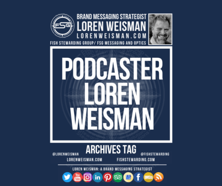 An archives tag graphic with a blue background and a white title inside of a white outlined rectangle that reads podcaster Loren Weisman. Above is the FSG logo as well as some text and an image of Loren Weisman. Beneath the rectangle is some smaller text and a series of social media icons.