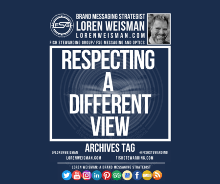 An archives tag graphic with a blue background and a white title inside of a white outlined rectangle that reads respecting a different view. Above is the FSG logo as well as some text and an image of Loren Weisman. Beneath the rectangle is some smaller text and a series of social media icons.