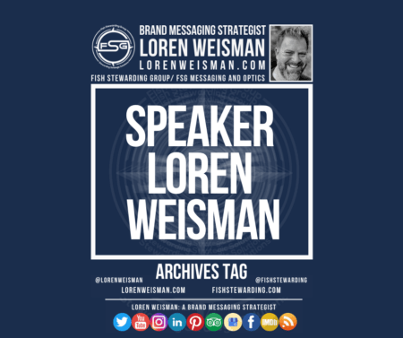 An archives tag graphic with a blue background and a white title inside of a white outlined rectangle that reads speaker Loren Weisman. Above is the FSG logo as well as some text and an image of Loren Weisman. Beneath the rectangle is some smaller text and a series of social media icons.
