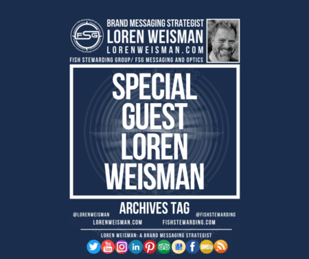 An archives tag graphic with a blue background and a white title inside of a white outlined rectangle that reads Special Guest Loren Weisman. Above is the FSG logo as well as some text and an image of Loren Weisman. Beneath the rectangle is some smaller text and a series of social media icons.