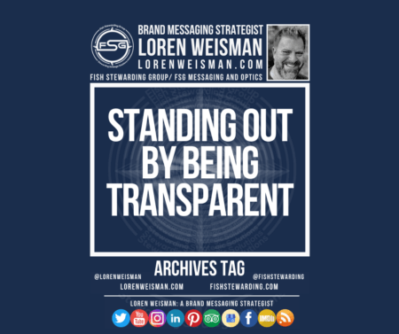 An archives tag graphic with a blue background and a white title inside of a white outlined rectangle that reads standing out by being transparent. Above is the FSG logo as well as some text and an image of Loren Weisman. Beneath the rectangle is some smaller text and a series of social media icons.