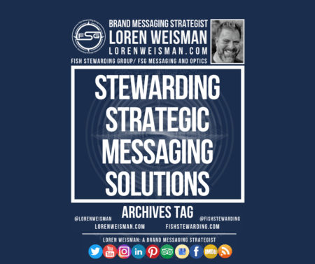 An archives tag graphic with a blue background and a white title inside of a white outlined rectangle that reads Stewarding strategic messaging solutions. Above is the FSG logo as well as some text and an image of Loren Weisman. Beneath the rectangle is some smaller text and a series of social media icons.