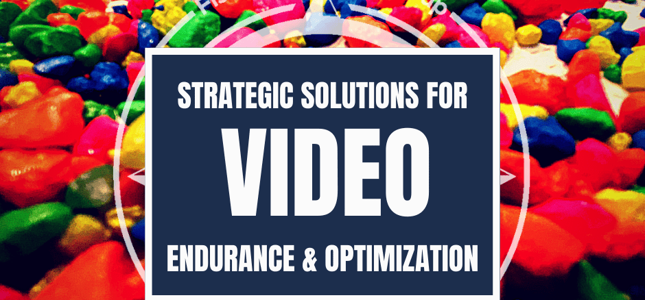 A featured graphic with a colorful rock background background and a white centered title that reads Strategic solutions for video solutions. Above is the FSG Logo as well as a center text that reads Brand Messaging Strategist Loren Weisman.