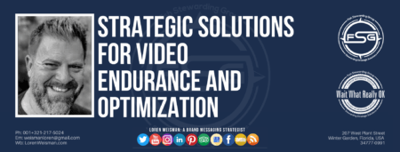 "A header graphic with a brown background and a white centered title that reads Strategic solutions for video endurance and optimization. To the left side is an image of Loren Weisman, to the right of the text is the Wait What Really OK Logo as well as the Fish Stewarding Group Logo. On the bottom of the image reads the text ""Loren Weisman: A brand messaging strategist with ten social media icons below it."