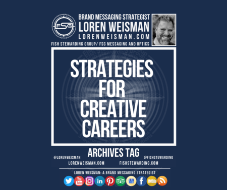 An archives tag graphic with a blue background and a white title inside of a white outlined rectangle that reads strategies for creative careers. Above is the FSG logo as well as some text and an image of Loren Weisman. Beneath the rectangle is some smaller text and a series of social media icons.
