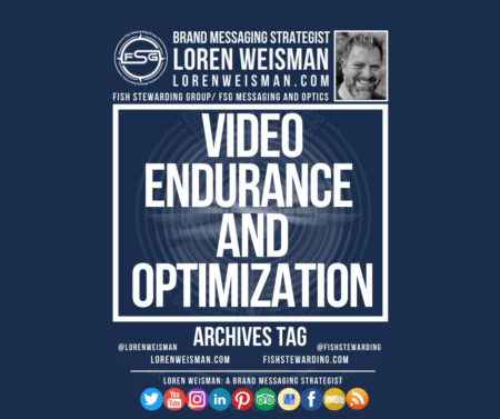 An archives tag graphic with a blue background and a white title inside of a white outlined rectangle that reads Video endurance and optimization. Above is the FSG logo as well as some text and an image of Loren Weisman. Beneath the rectangle is some smaller text and a series of social media icons.