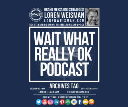 An archives tag graphic with a blue background and a white title inside of a white outlined rectangle that reads Wait What Really OK podcast. Above is the FSG logo as well as some text and an image of Loren Weisman. Beneath the rectangle is some smaller text and a series of social media icons.