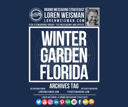 An archives tag graphic with a blue background and a white title inside of a white outlined rectangle that reads Winter Garden Florida. Above is the FSG logo as well as some text and an image of Loren Weisman. Beneath the rectangle is some smaller text and a series of social media icons.