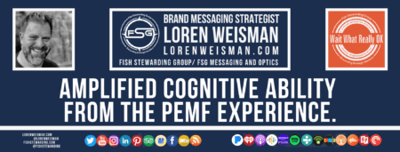 A footer graphic with a blue background and a white centered title that reads Amplified cognitive ability from the PEMF experience. The Wait What Really OK Logo as well as a center text that reads Brand Messaging Strategist Loren Weisman with and FSG logo and other text. Beneath the title image are some social media and podcast icons.