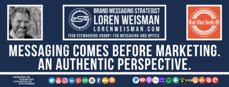 A footer graphic with a blue background and a white centered title that reads Messaging comes before marketing. An authentic perspective. The Wait What Really OK Logo as well as a center text that reads Brand Messaging Strategist Loren Weisman with and FSG logo and other text. Beneath the title image are some social media and podcast icons.