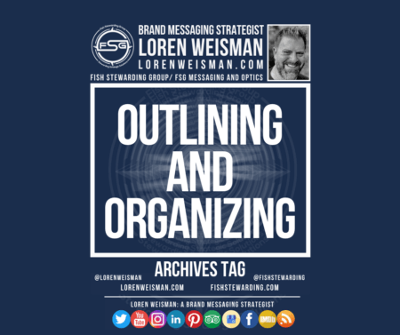 An archives tag graphic with a blue background and a white title inside of a white outlined rectangle that reads Outlining and Organizing.  Above is the FSG logo as well as some text and an image of Loren Weisman. Beneath the rectangle is some smaller text and a series of social media icons.