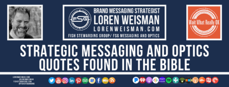 A footer graphic with a blue background and a white centered title that reads Strategic messaging and optics quotes found in the bible and images of Loren Weisman, The Wait What Really OK Logo as well as a center text that reads Brand Messaging Strategist Loren Weisman with and FSG logo and other text. Beneath the title image are some social media and podcast icons.