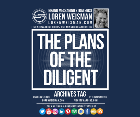 An archives tag graphic with a blue background and a white title inside of a white outlined rectangle that reads The plans of the diligent. Above is the FSG logo as well as some text and an image of Loren Weisman. Beneath the rectangle is some smaller text and a series of social media icons.