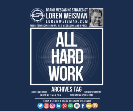 An archives tag graphic with a blue background and a white title inside of a white outlined rectangle that reads All hard work. Above is the FSG logo as well as some text and an image of Loren Weisman. Beneath the rectangle is some smaller text and a series of social media icons.