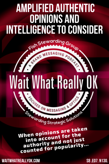 Amplified Authentic Opinions Poster with text, a red and black background and the Wait What Really OK logo in the center.