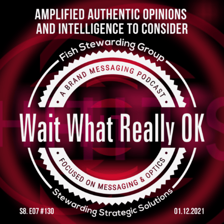 Cover art for the podcast. The Wait What Really OK logo in white, in front of dark red and pink swirlls on a black background and text.