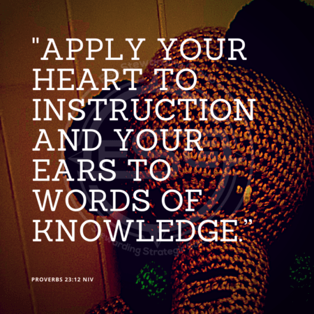 "A quote graphic with a background of a wall and a stuffed elephant teddy bear. In center is an FSG logo watermark and a quote in white text that is credited to Proverbs 23:12 NIV in a small font on the bottom left and in the upper right center the quote reads, ""Apply your heart to instruction and your ears to words of knowledge."""