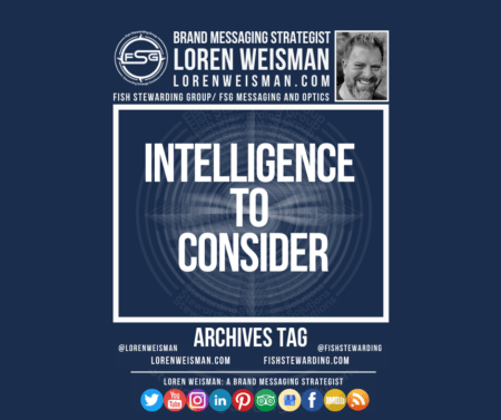 An archives tag graphic with a blue background and a white title inside of a white outlined rectangle that reads Intelligence to consider. Above is the FSG logo as well as some text and an image of Loren Weisman. Beneath the rectangle is some smaller text and a series of social media icons.