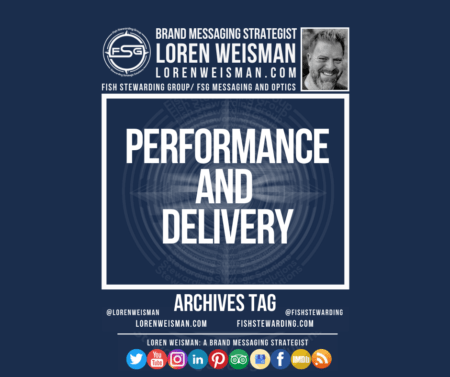 An archives tag graphic with a blue background and a white title inside of a white outlined rectangle that reads Performance and Delivery.  Above is the FSG logo as well as some text and an image of Loren Weisman. Beneath the rectangle is some smaller text and a series of social media icons.