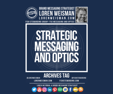 An archives tag graphic with a blue background and a white title inside of a white outlined rectangle that reads Strategic messaging and optics. Above is the FSG logo as well as some text and an image of Loren Weisman. Beneath the rectangle is some smaller text and a series of social media icons.