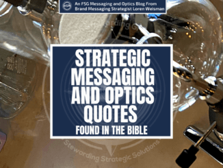 A featured graphic with a marble counter with different glasses and carafes from a coffee shop on it. Then, in the middle, a blue rectangle in the center with a white border around it with white text that reads Strategic messaging and optics quotes found in the bible. Above is the FSG Logo as well as a center text that reads Brand Messaging Strategist Loren Weisman. The blue rectangle is surrounded by a white Fish Stewarding Group logo watermark.