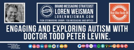 A footer graphic with a blue background and a white centered title that reads engaging and exploring autism with Doctor Todd Peter Levine. The Wait What Really OK Logo as well as a center text that reads Brand Messaging Strategist Loren Weisman with and FSG logo and other text. Beneath the title image are some social media and podcast icons.