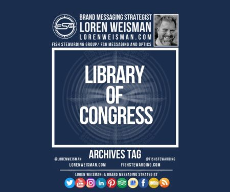 An archives tag graphic with a blue background and a white title inside of a white outlined rectangle that reads Library of congress. Above is the FSG logo as well as some text and an image of Loren Weisman. Beneath the rectangle is some smaller text and a series of social media icons.