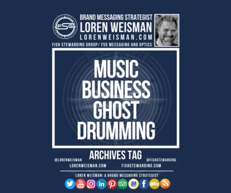 An archives tag graphic with a blue background and a white title inside of a white outlined rectangle that reads Music Business Ghost Drumming. Above is the FSG logo as well as some text and an image of Loren Weisman. Beneath the rectangle is some smaller text and a series of social media icons.