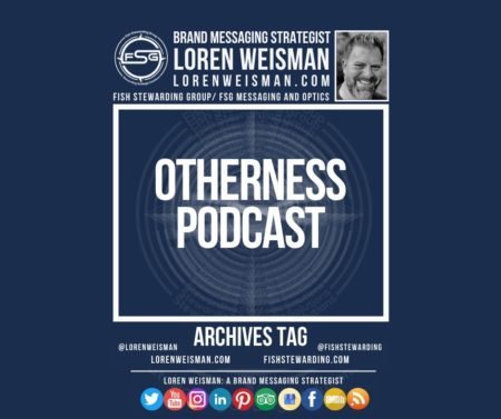 An archives tag graphic with a blue background and a white title inside of a white outlined rectangle that reads Otherness Podcast. Above is the FSG logo as well as some text and an image of Loren Weisman. Beneath the rectangle is some smaller text and a series of social media icons.