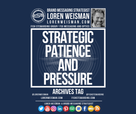 An archives tag graphic with a blue background and a white title inside of a white outlined rectangle that reads Strategic patience and pressure. Above is the FSG logo as well as some text and an image of Loren Weisman. Beneath the rectangle is some smaller text and a series of social media icons.