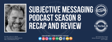"A header graphic with a blue background and a white centered title that reads Subjective Messaging Podcast Season Eight Recap and Review. To the left side is an image of Loren Weisman, to the right of the text is the Wait What Really OK Logo as well as the Fish Stewarding Group Logo. On the bottom of the image reads the text ""Loren Weisman: A brand messaging strategist with ten social media icons below it."