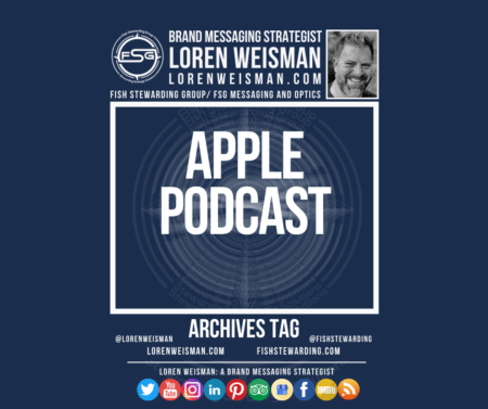 An archives tag graphic with a blue background and a white title inside of a white outlined rectangle that reads apple podcast. Above is the FSG logo as well as some text and an image of Loren Weisman. Beneath the rectangle is some smaller text and a series of social media icons.