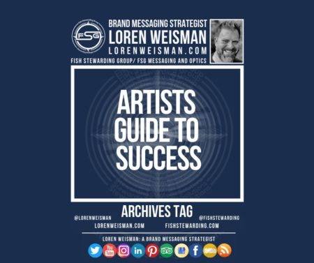 An archives tag graphic with a blue background and a white title inside of a white outlined rectangle that reads artists guide to success. Above is the FSG logo as well as some text and an image of Loren Weisman. Beneath the rectangle is some smaller text and a series of social media icons.