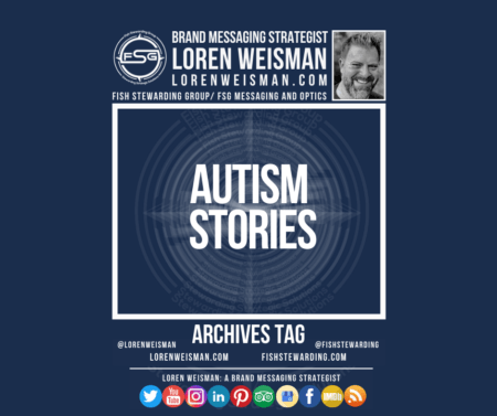 An archives tag graphic with a blue background and a white title inside of a white outlined rectangle that reads Autism stories. Above is the FSG logo as well as some text and an image of Loren Weisman. Beneath the rectangle is some smaller text and a series of social media icons.