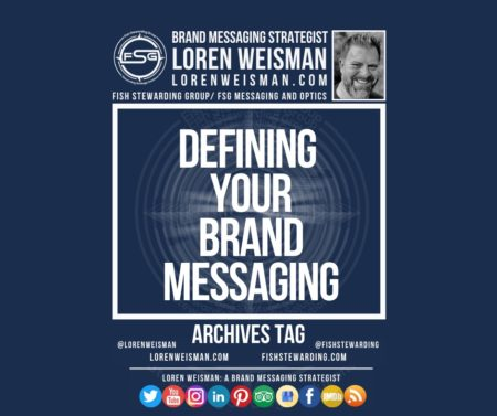 An archives tag graphic with a blue background and a white title inside of a white outlined rectangle that reads Defining your brand messaging from intention to perception. Above is the FSG logo as well as some text and an image of Loren Weisman. Beneath the rectangle is some smaller text and a series of social media icons.