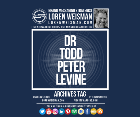 An archives tag graphic with a blue background and a white title inside of a white outlined rectangle that reads Dr todd peter levine. Above is the FSG logo as well as some text and an image of Loren Weisman. Beneath the rectangle is some smaller text and a series of social media icons.