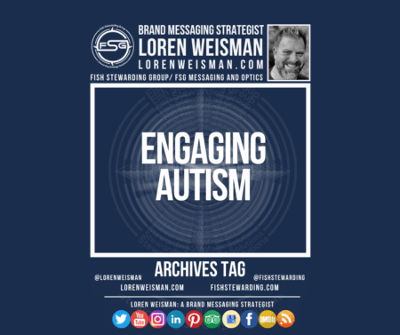 An archives tag graphic with a blue background and a white title inside of a white outlined rectangle that reads engaging autism. Above is the FSG logo as well as some text and an image of Loren Weisman. Beneath the rectangle is some smaller text and a series of social media icons.