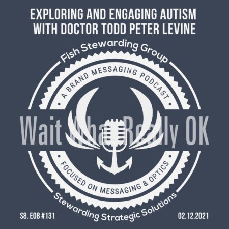 A featured podcast graphic with the Otherness podcast anchor and wing logo in the background. Then, in the middle, a blue rectangle in the center with a white border around it with white text that reads engaging and exploring autism with Doctor Todd Peter Levine. Above is the FSG Logo as well as a center text that reads Brand Messaging Strategist Loren Weisman. The blue rectangle is surrounded by a white Fish Stewarding Group logo watermark.