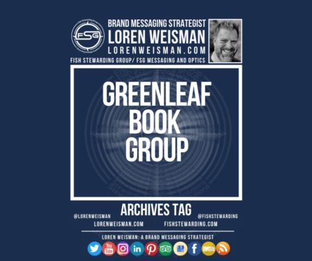 An archives tag graphic with a blue background and a white title inside of a white outlined rectangle that reads Greenleaf Book Group. Above is the FSG logo as well as some text and an image of Loren Weisman. Beneath the rectangle is some smaller text and a series of social media icons.