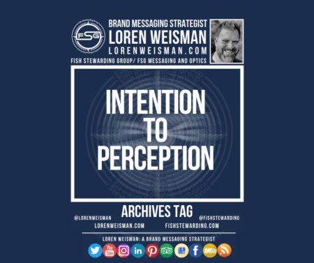 An archives tag graphic with a blue background and a white title inside of a white outlined rectangle that reads intention to perception. Above is the FSG logo as well as some text and an image of Loren Weisman. Beneath the rectangle is some smaller text and a series of social media icons.