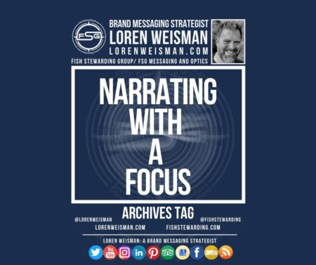 An archives tag graphic with a blue background and a white title inside of a white outlined rectangle that reads narrating with a focus. Above is the FSG logo as well as some text and an image of Loren Weisman. Beneath the rectangle is some smaller text and a series of social media icons.
