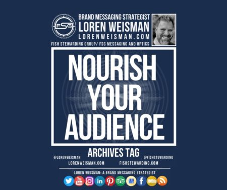An archives tag graphic with a blue background and a white title inside of a white outlined rectangle that reads nourish your audience. Above is the FSG logo as well as some text and an image of Loren Weisman. Beneath the rectangle is some smaller text and a series of social media icons.